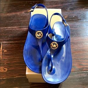 Micheal kors jelly blue Sandle flats with box